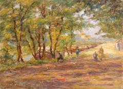 Douai - 1925 - 20th Century Oil, Figures by River in Autumn Landscape By H Duhem