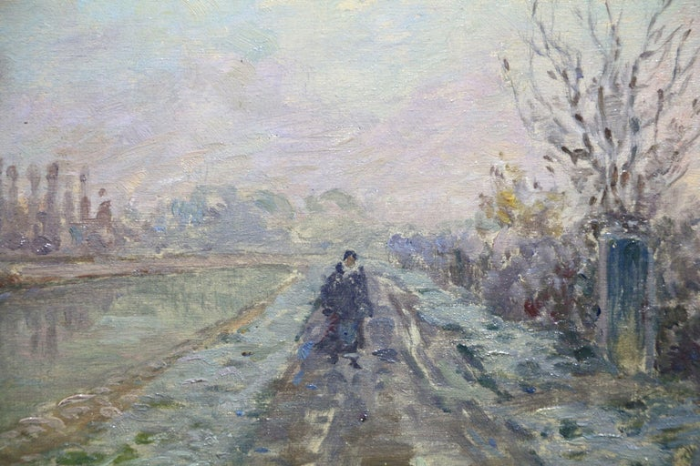 Douai Canal - Christmas 1914 - 19th Century Oil, Figure in Riverscape by H Duhem - Painting by Henri Duhem