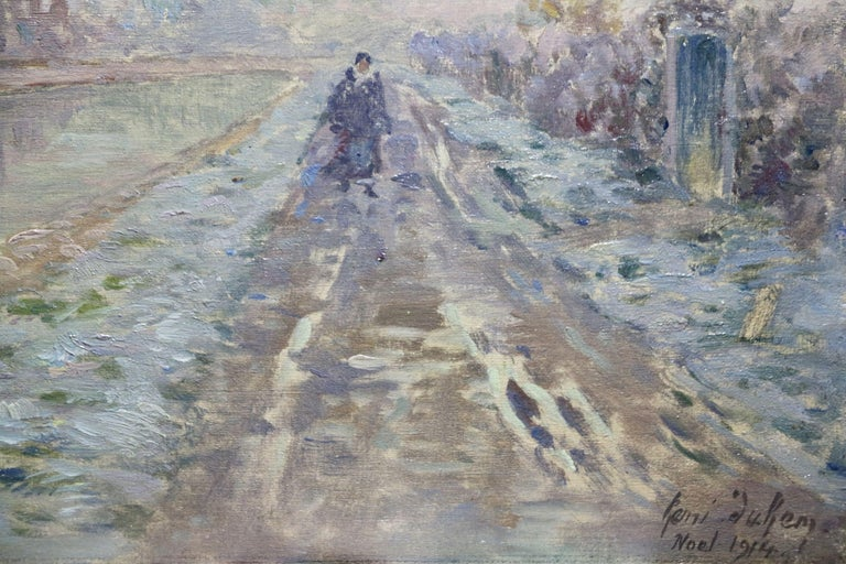 Douai Canal - Christmas 1914 - 19th Century Oil, Figure in Riverscape by H Duhem - Impressionist Painting by Henri Duhem