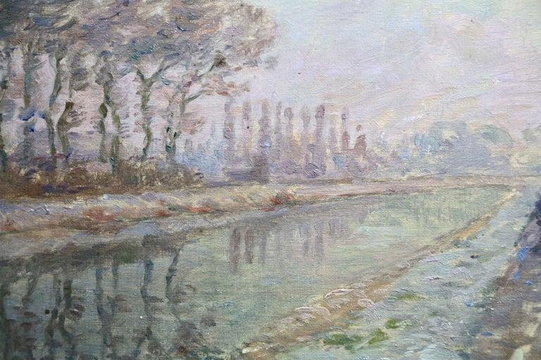 Douai Canal - Christmas 1914 - 19th Century Oil, Figure in Riverscape by H Duhem - Gray Landscape Painting by Henri Duhem