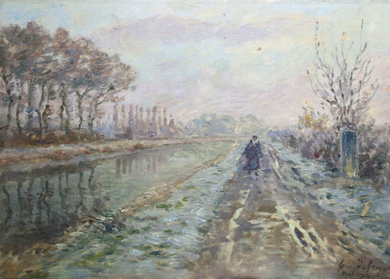 Henri Duhem Landscape Painting - Douai Canal - Christmas 1914 - 19th Century Oil, Figure in Riverscape by H Duhem