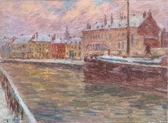 Douai - Hiver- 19th Century Oil, Boat on Canal Winter Landscape by Henri Duhem