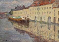 Douai - June 1904 - 19th Century Oil, Boat on Canal Landscape by Henri Duhem