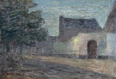 Dusk - 19th Century Oil, French Village Night-time Landscape by Henri Duhem