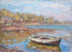 Etang á Nimes - 19th Century Oil, Boat on Pond in Landscape by Henri Duhem
