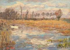 Étang dans Paysage - 19th Century Oil, Figure in Boat in Landscape - Henri Duhem