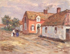 Famille au village - French Impressionist Oil, Figures in Landscape by H Duhem