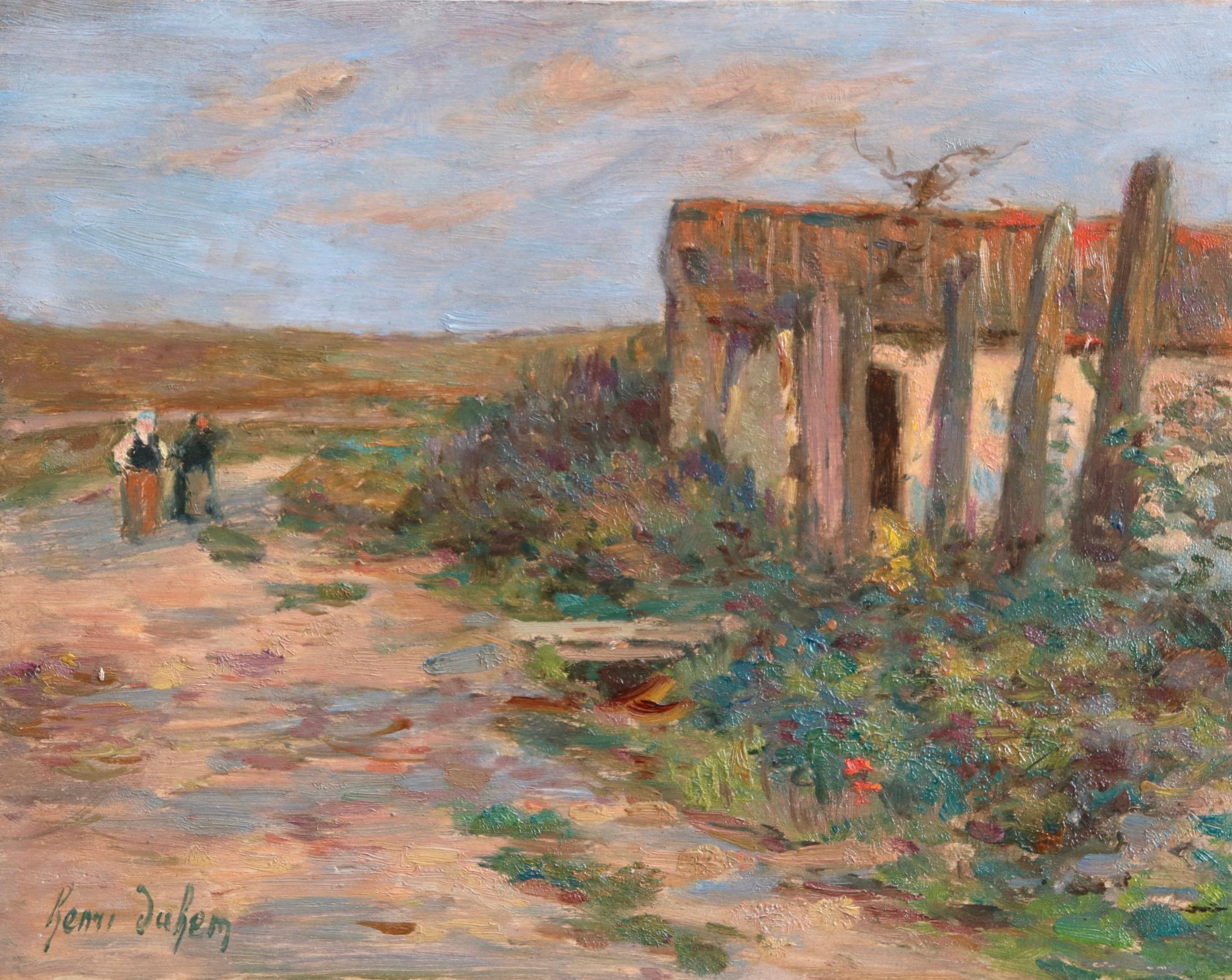 Femmes dans le paysage - Impressionist Oil, Figures in Landscape by Henri Duhem
