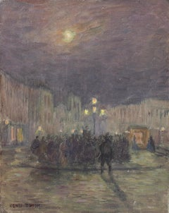 Fete at Moonlight - 19th Century Oil, Figures in Night Landscape by Henri Duhem