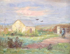 Figure on a Path - 19th Century Oil, Figure & Cottage, French Landscape by Duhem
