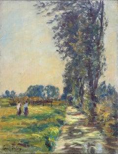 Figures in a Landscape - Impressionist Oil, River Landscape by Henri Duhem