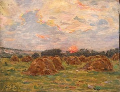 Haystacks at Sunset - 19th Century Oil, Sunset over Landscape by Henri Duhem
