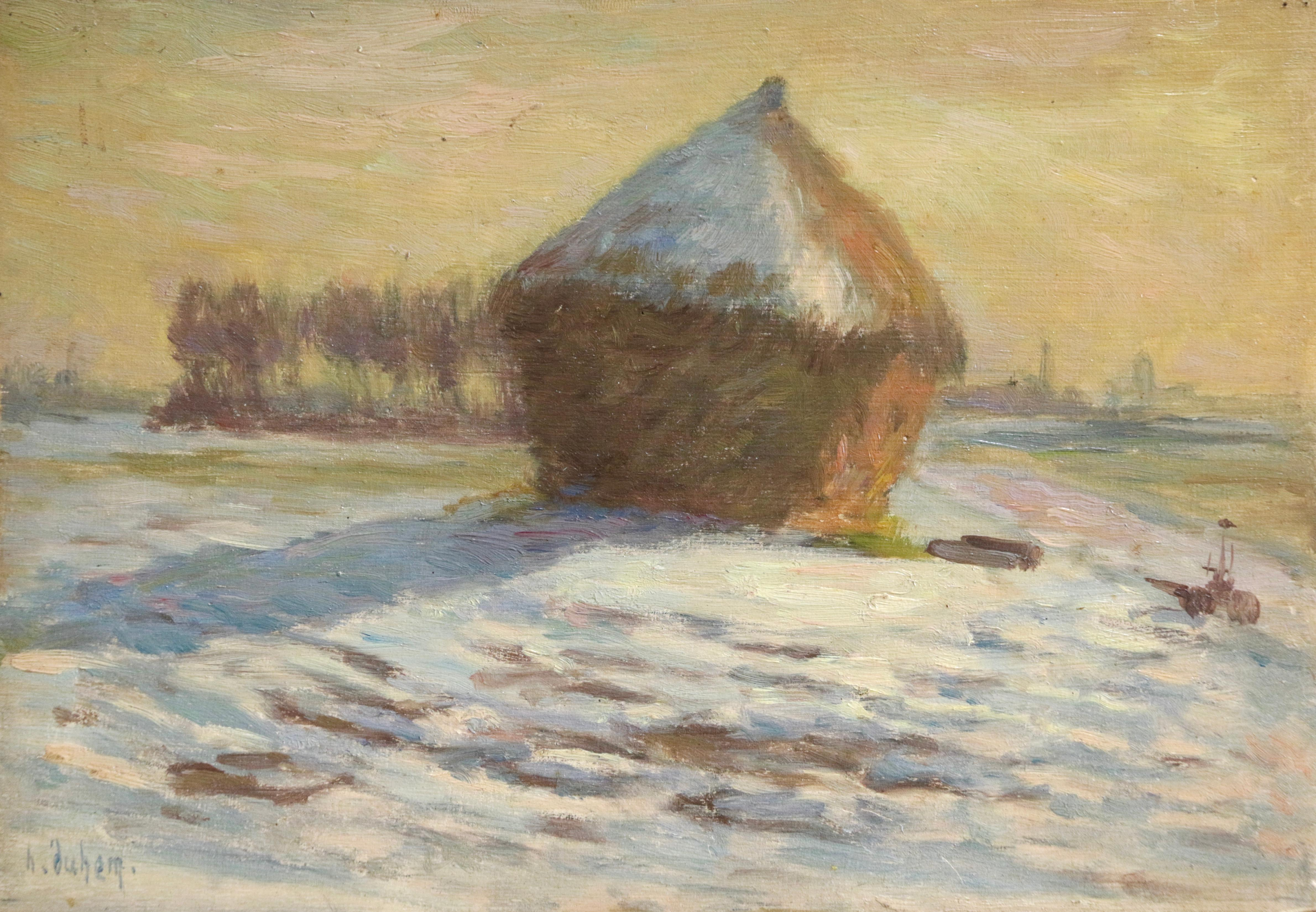 Haystacks - Snow - January 1902 - 19th Century Oil, Winter Landscape by H Duhem