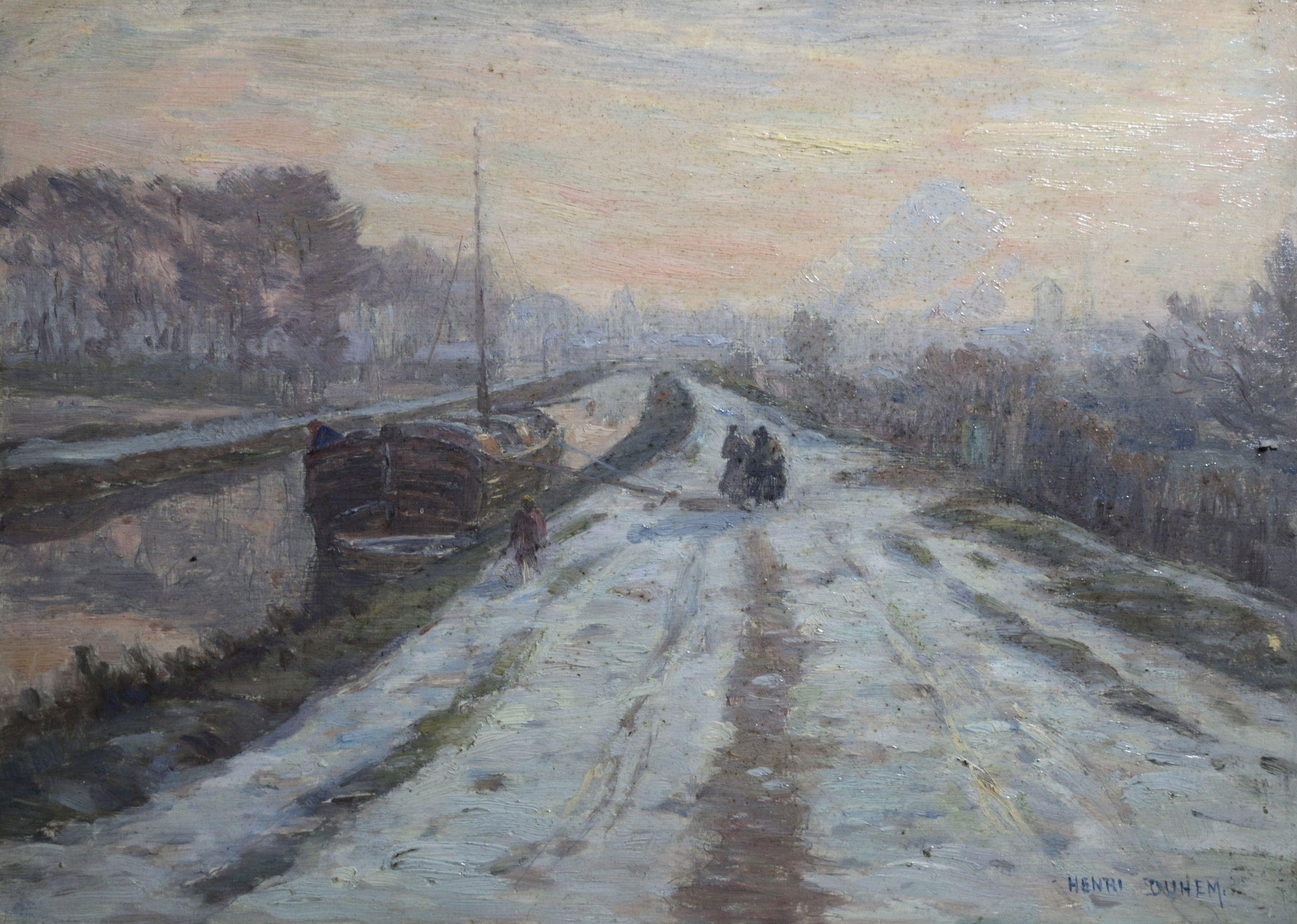 Hiver - Douai - 19th Century Oil, Figures by Canal in Snow Winter Scene by Duhem