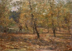 Hunting near Douai - 19th Century Oil, Figure in Woodland Landscape Oil by Duhem