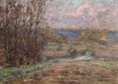 Hunting near Douai - 19th Century French Oil, Figure in Landscape by Henri Duhem