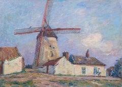 La Ferme au Moulins - 19th Century Oil, Windmill on Farm Landscape by H Duhem