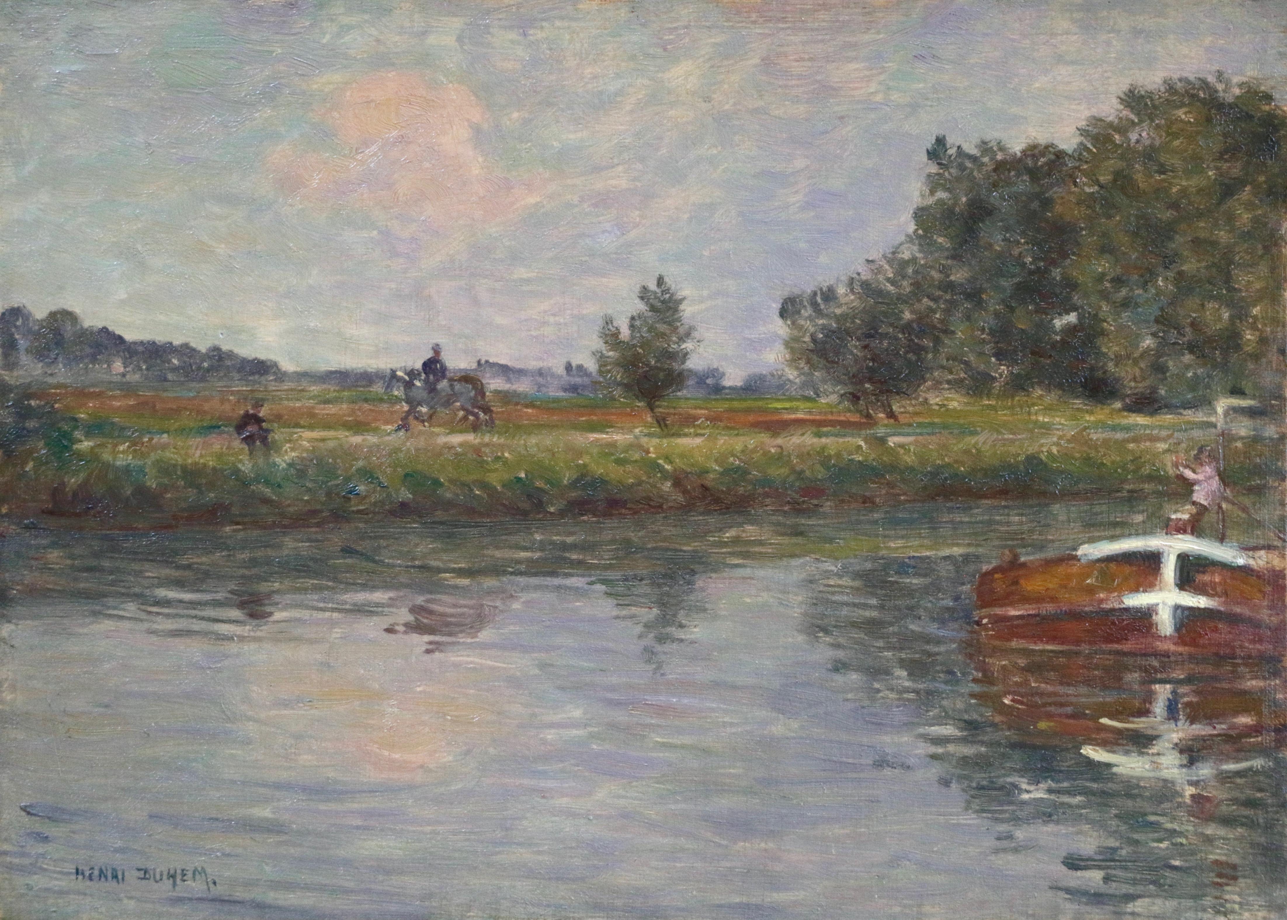 La Rivière - 19th Century Oil, Figures & Boat River in Landscape by Henri Duhem