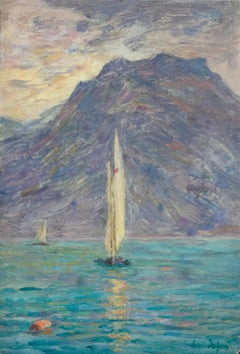 Lac Montreux - 19th Century Oil, Sailing Boat on Lake by Mountains by H Duhem