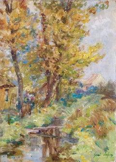 L'automne - 19th Century Oil, Cottage by a Stream Landscape by Henri Duhem