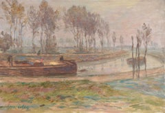 Le Canal - Automne - Impressionist Oil, Boat on the Canal Landscape by H Duhem