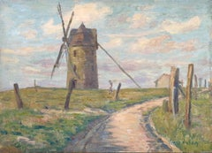 Le Moulin - 19th Century Oil, Figure by Windmill in French Landscape by H Duhem