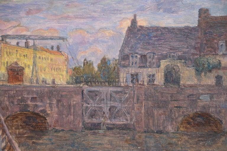 Le Pont sur la Scarpe a Douai- 19th Century Oil, Figure by River Landscape Duhem - Impressionist Painting by Henri Duhem