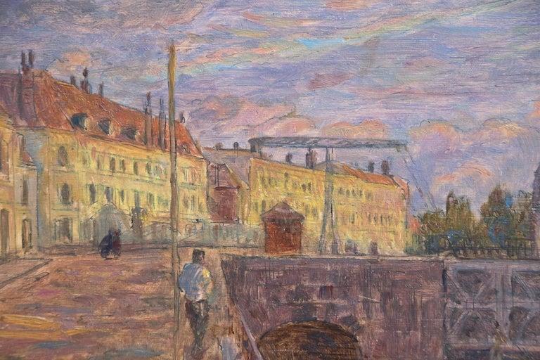 Le Pont sur la Scarpe a Douai- 19th Century Oil, Figure by River Landscape Duhem - Gray Landscape Painting by Henri Duhem