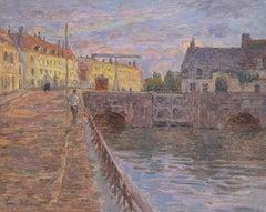 Le Pont sur la Scarpe a Douai- 19th Century Oil, Figure by River Landscape Duhem