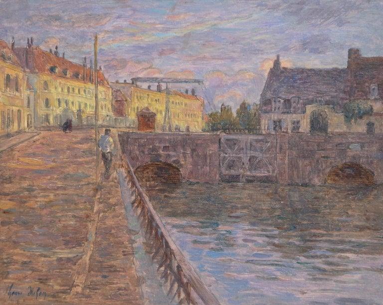 Henri Duhem Landscape Painting - Le Pont sur la Scarpe a Douai- 19th Century Oil, Figure by River Landscape Duhem