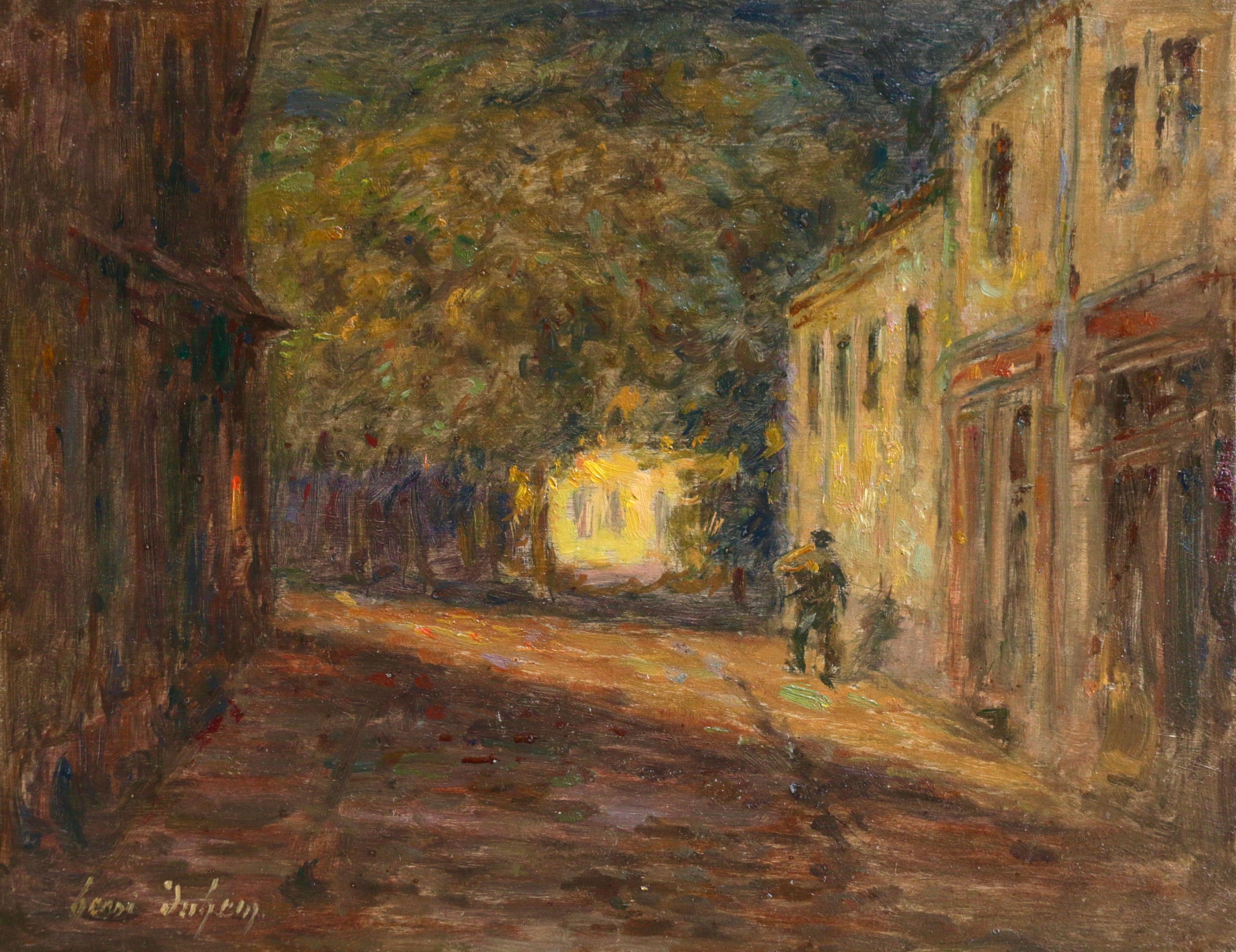 Le Village la Nuit - 19th Century Oil, Figure in Landscape at Night by H Duhem