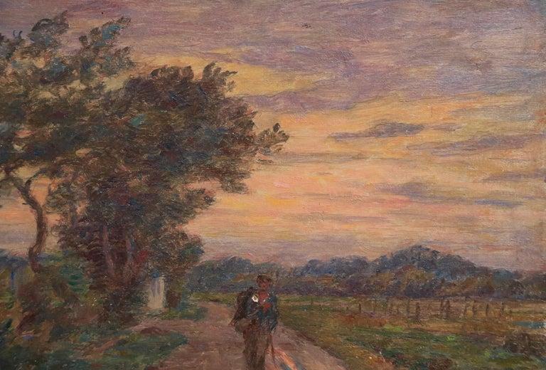 Le Voyage du Retour - 19th Century Oil, Figure in Evening Landscape by H Duhem For Sale 1