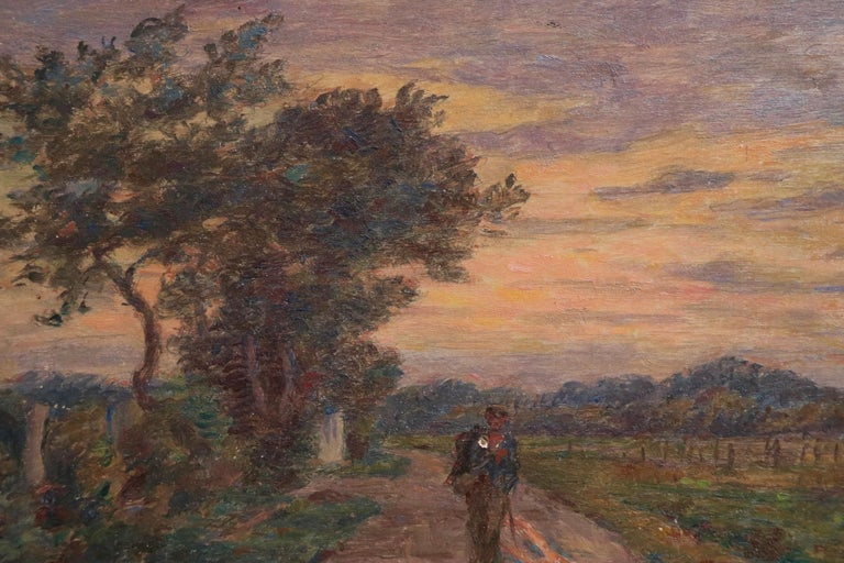 Le Voyage du Retour - 19th Century Oil, Figure in Evening Landscape by H Duhem For Sale 2
