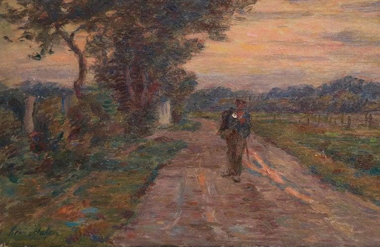 Le Voyage du Retour - 19th Century Oil, Figure in Evening Landscape by H Duhem For Sale 3