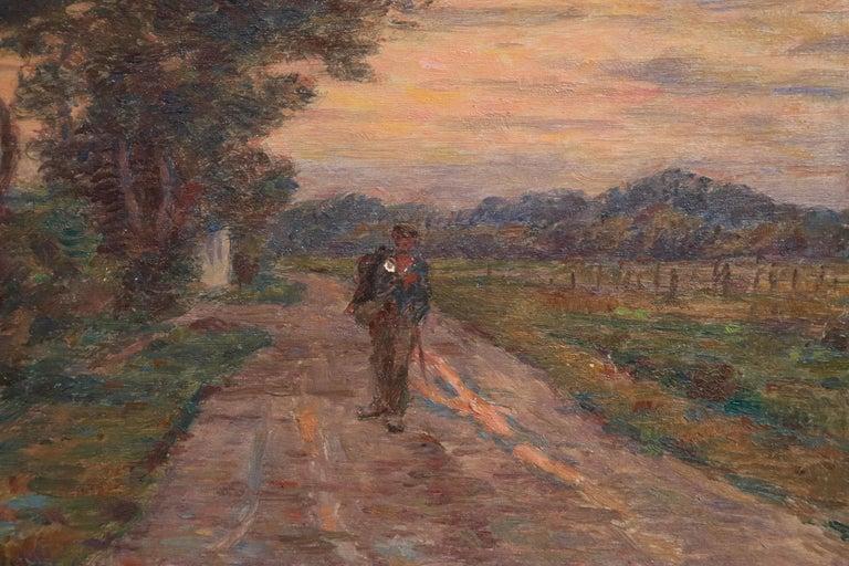 Le Voyage du Retour - 19th Century Oil, Figure in Evening Landscape by H Duhem For Sale 4