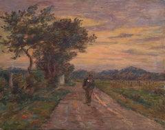 Le Voyage du Retour - 19th Century Oil, Figure in Evening Landscape by H Duhem