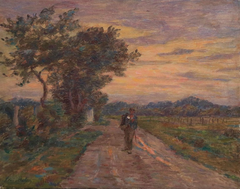 Oil on panel by Henri Duhem depicting a soldier walking along the road home as the last light of the day is on the horizon in the distance. Signed lower left and dated 1912 verso. This painting is not currently framed but a suitable frame can be