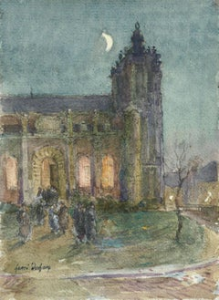 L'église de nuit - 19th Century Watercolor, Figures by Church at Night by Duhem