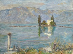 Les Cygnes - Lac Montreux - 19th Century, Swans in Lake Mountain Landscape Duhem