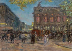 L'Opera - Paris - Impressionist Oil, Figures in Cityscape at Night by H Duhem