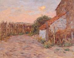 Lumière du soleil couchant - Impressionist Oil, Sunset over Landscape by H Duhem