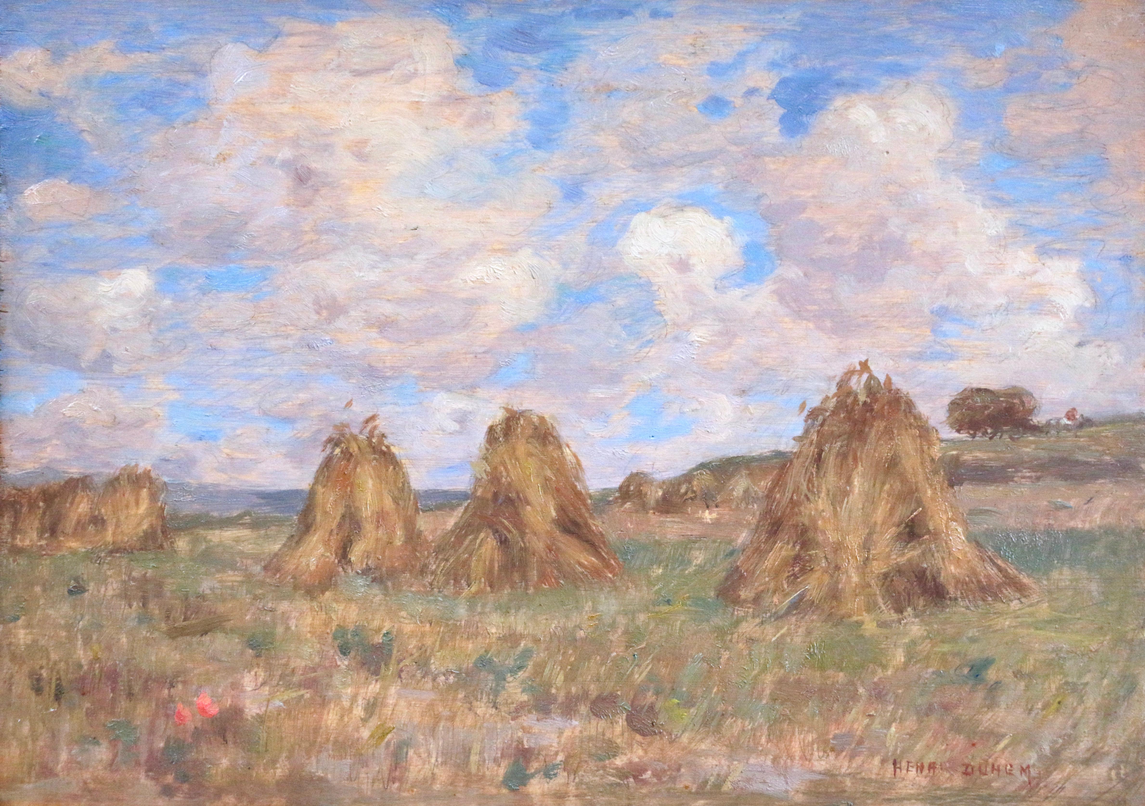 Meules de Foin - 19th Century Oil, Haystacks in French Landscape by Henri Duhem