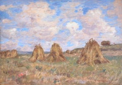 Meules de Foin - 19th Century Oil, Haystacks in French Landscape by Henri Duhem