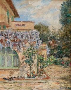 Montriant - Les Glycines - Impressionist Oil, Garden Landscape by Henri Duhem