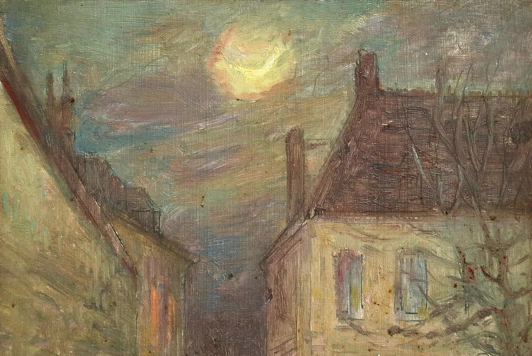 Moonlight in the Village -19th Century Oil, Figure in Night Landscape by H Duhem For Sale 1