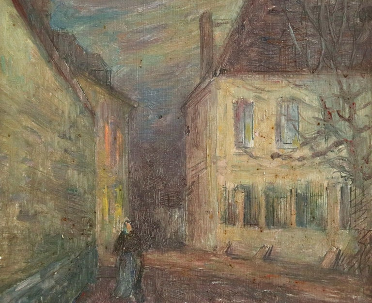 Moonlight in the Village -19th Century Oil, Figure in Night Landscape by H Duhem For Sale 2