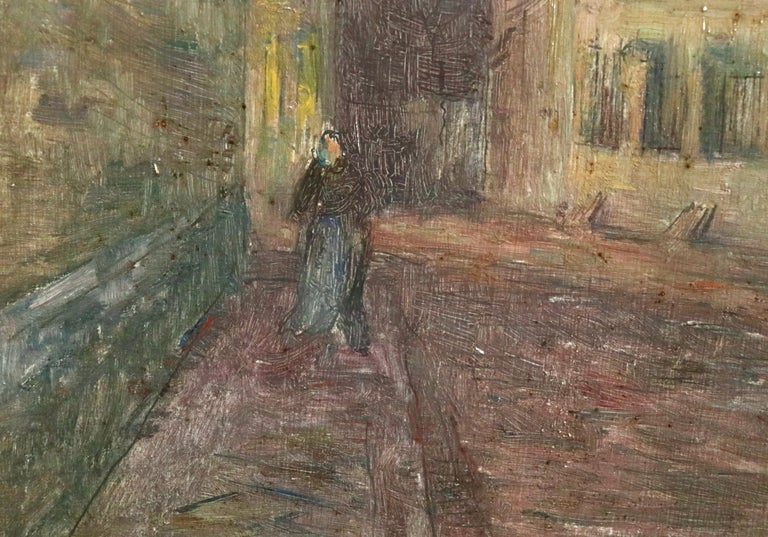 Moonlight in the Village -19th Century Oil, Figure in Night Landscape by H Duhem For Sale 3