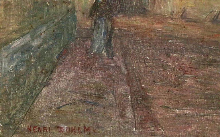 Moonlight in the Village -19th Century Oil, Figure in Night Landscape by H Duhem For Sale 4