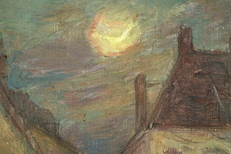 Moonlight in the Village -19th Century Oil, Figure in Night Landscape by H Duhem For Sale 5