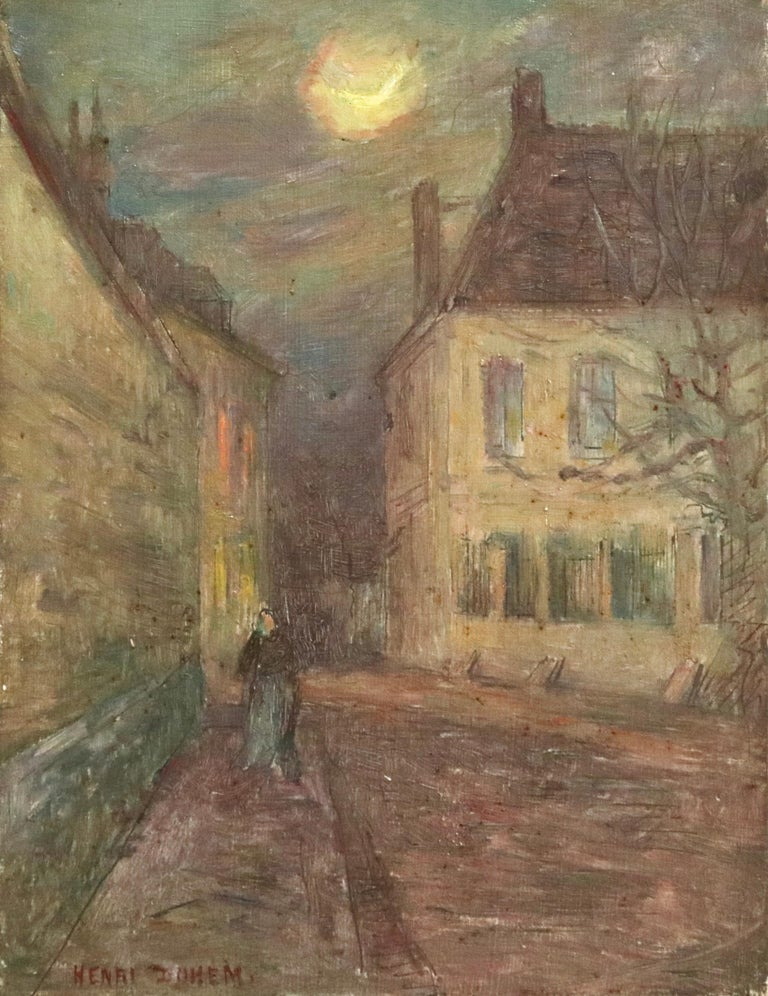 Oil on panel by Henri Duhem depicting a lone woman figure walking through a village under the light of the moon. Signed lower left and dated 1904 verso. This painting is not currently framed but a suitable frame can be sourced if